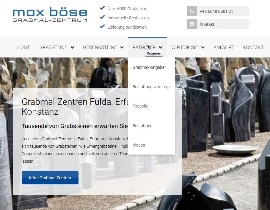 Unter Mehrwerte sind Ratgeber, Checklisten oder Erklärvideos zu verstehen, wie Sie auf der Website vom Grabmalzentrum Böse zu finden sind.